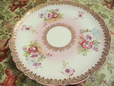 VINTAGE WHEELOOK IMPERIAL AUSTRIA PLATE BEAUTIFUL PINK AND GOLD RARE