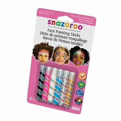 Snazaroo Face Paint 6 x Sticks Boy / Girl Face Paints & designs 1160601