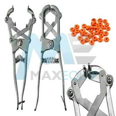 PROFESSIONAL ELASTRATOR Rubber Ring CASTRATOR Applicator Farm Castrating + RINGS