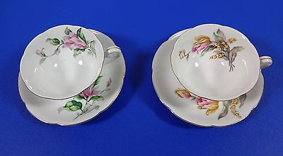 JAPAN,  TWO CHINA CUPS AND SAUCERS, FLOWERS, HALLMARKED MW?