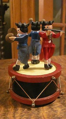 VINTAGE 50'S CAROUSEL  MUSIC BOX WITH MARCHING BAND HANDPAINTED WOOD