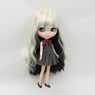 """12"""" Neo Blythe Doll Mix White&Black Hair Factory Nude Doll from Factory JSW51011"""