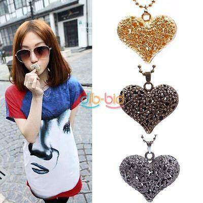 Hot Woman Hollow Peach Love Heart Pendant Style Beads Long Chain Necklace X-mas