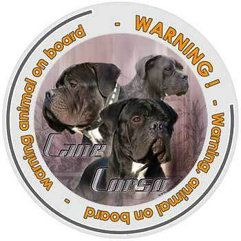 Circular Dogs sticker attention Cane Corso on board