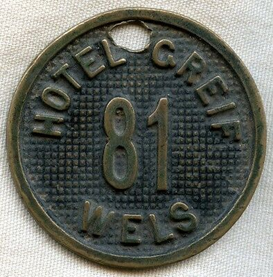 Late 1800s Room Key Fob for Room 81, Hotel Greif, Wels, Austria