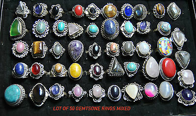 .925 silver plated gemstone ring wholesale lot of 50 pcs by highendcrafts