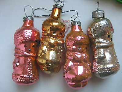 "Vintage Russian Christmas Silver Glass Ornaments ""3 Soldiers"""
