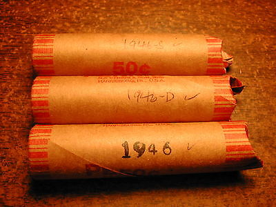 1946-PDS LINCOLN WHEAT CENT PENNY ROLL SET, nice condition, 3 solid date rolls