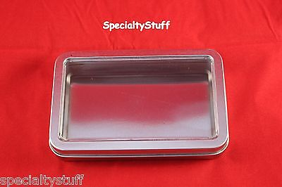 New Empty Blank Metal Tin With Clear Hinged Lid Rectangular Survival Container 7