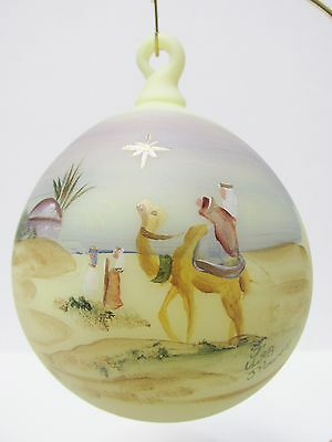 "1804DQ -  Fenton's 4-1/2"" Hand Painted Burmese Ornament, ""The Journey""  - NIB"