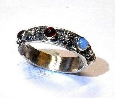 New Sterling Silver Hand Made in MEXICO Multi Gem Ring Antique VINTAGE RARE
