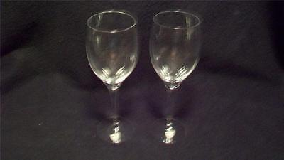 Pair Orrefors Swedish Crystal Tall Goblets