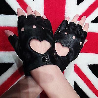 Stunning Driving Sexy Pole Dance Peach Heart Half Finger Synthetic Leather Glove