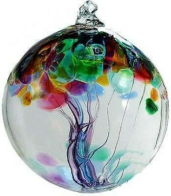 Kitras Art Glass FAMILY Glass Witchball RARE Hand blown Glass 2 inch ornament