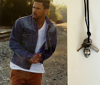 Mens Leather Double Ring Vintage Cross & Skull Necklace Pendant Dog Tag