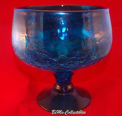 Large Blue Crackle Glass Pedestal Compote