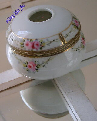 antique NIPPON MORIAGE porcelain Hair Receiver ROSES w GOLD pattern FREE SHIP