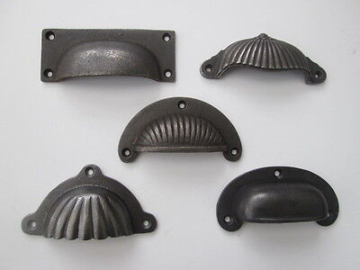 Cast Iron Vintage Old Style Fancy Cup Cupped Chest Drawer Cupboard Pull Handles