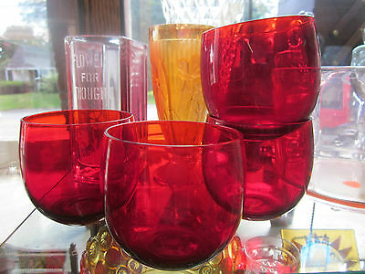 4 Vintage Ruby Red Glass Highball Cocktail Tumblers