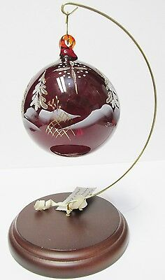"180468 Fenton ""STARBRIGHT"" Ruby Christmas Ornament Hand Painted by J.K. Spindler"