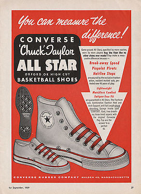 Awsome Vintage 1959 CONVERSE ALL-STAR BASKETBALL SHOES Print Ad Chuck Taylors