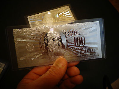 $ 100 Dollar Bill 999.9 % Silver Plated * 2009 Mint*  Comes In Pvc Rigid Holder