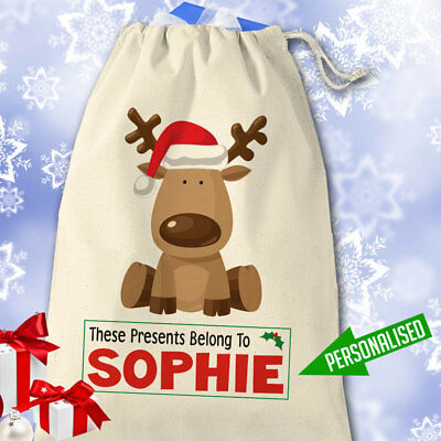 Personalised Christmas Santa Sack Stocking Choice of 6 Designs and Add any Name