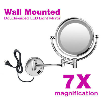 """Wall Mounted 8.5"""" Cosmetic Shaving Bathroom Mirror 7x Magnification W/ LED Light"""