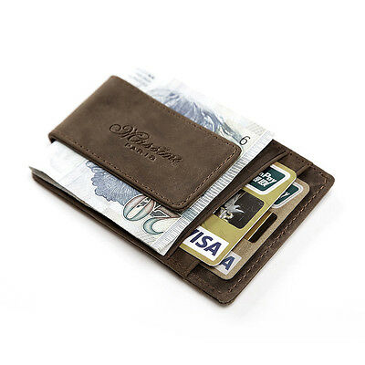 Men Crazy Horse Real Leather Slim Wallet ID Credit Card Holder Purse Brown