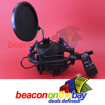 Shock Mount for Condenser Microphone Spider Clip + Pop Filter Recording Studio