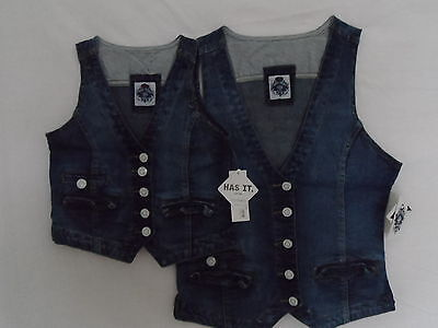 New Girl's Young Ladies Distressed Look Cotton Fashion Denim Waistcoat-Bargain!!