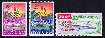 GUINEA 1960 Olympic overprint Rome 1960 unmounted mint SG248/52. Catalogue £95