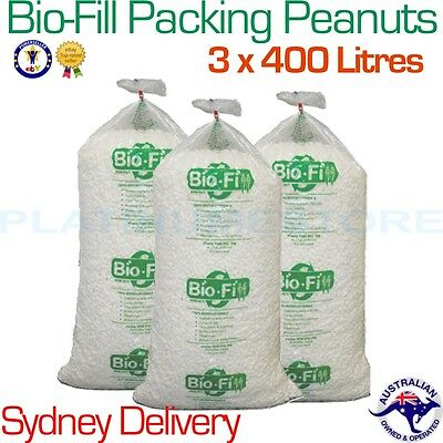 3 x 400L Bag Bio-Fill Void Fill Packing Peanuts Cushioning Nuts SYDNEY DELIVERY