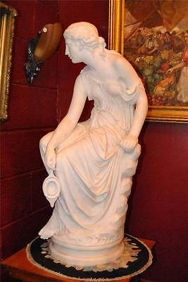 "Antique Italian Hand Carved Marble Statue of Graceful Lady Sitting, 33"" Tall"