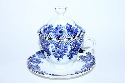 Russian Imperial Lomonosov Porcelain Lidded Tea cup, saucer Garland Russia Rare