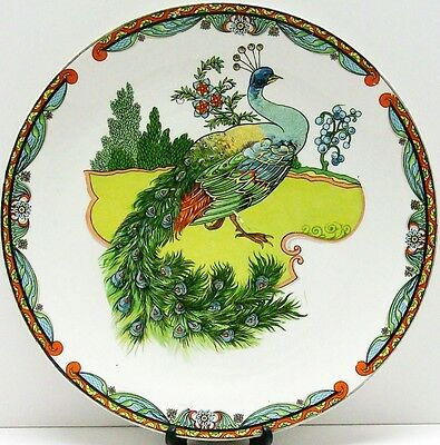 Beautiful Vintage U.S. Pottery Co. Large PEACOCK WALL PLATE Wellsville OH