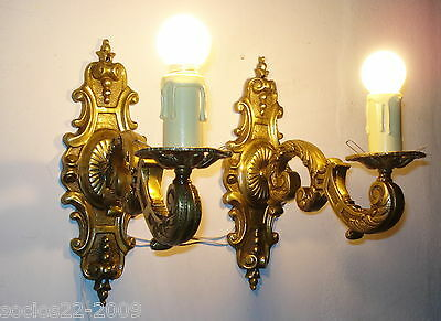 Antique Important Victorian Solid Bronze  Wall Sconces