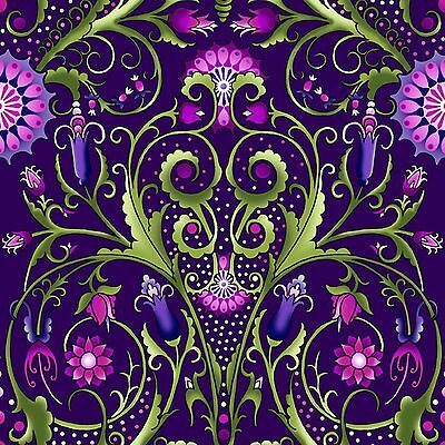 Fabric #2457 Large Floral Vine Pink Lavender Green . Yenter ITB Sold by 1/2 Yard