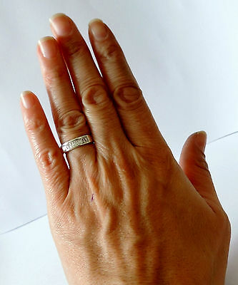925 STERLING SILVER WHITE CUBIC ZIRCON BAND RING size N, N1/2, P
