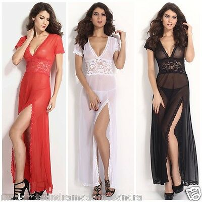See Through Negligee Long Gown Babydoll Daring Sheer Chemise Nightdress Lingerie
