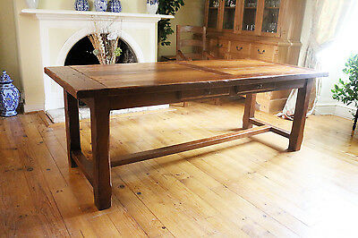 10.5 Foot French Vintage Rustic Solid Oak Farmhouse Harvest Table Seats 12