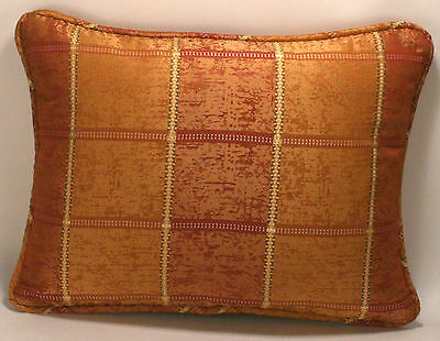 "1 12"" by 16"" Rust Copper and Gold Plaid Designer Throw Pillow"