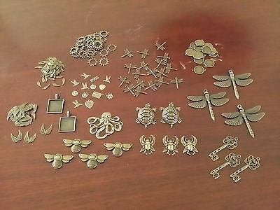 Mixed Lot of Jewelry Findings and Pendants - Over 100 Pieces - Antique Bronze
