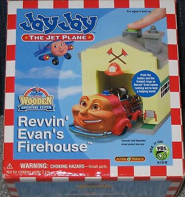 Jay Jay The Jet Plane Wooden Adventure Revvin' Evan's Firehouse New In Box!