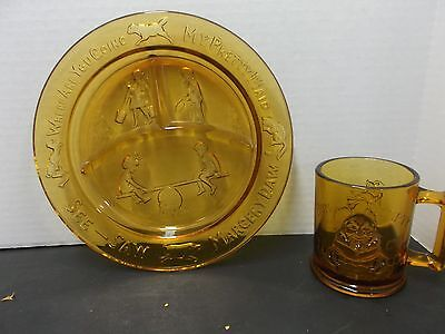 Tiara Childs Baby Divided Plate Nursery Rhyme See Saw Dog Cat Gold Glass & Glass