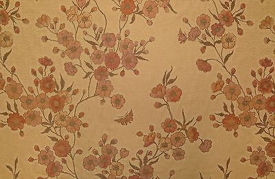 "ILENA CAMEO #47149 JACQUARD FLORAL VINE GREEN BEIGE FABRIC BY THE YARD 58""W"