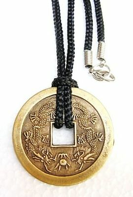 Double Dragon Chinese Coin Medallion Good luck Charm Necklace 39mm