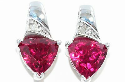 3 Ct Created Ruby & Diamond Trillion Stud Earrings White Gold Silver