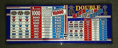 IGT S2000 Slant Top Slot Machine DOUBLE RED WHITE & BLUE Glass