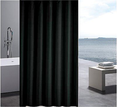 Solid Black Shower Curtain 2.2m Long Free Shipping New
